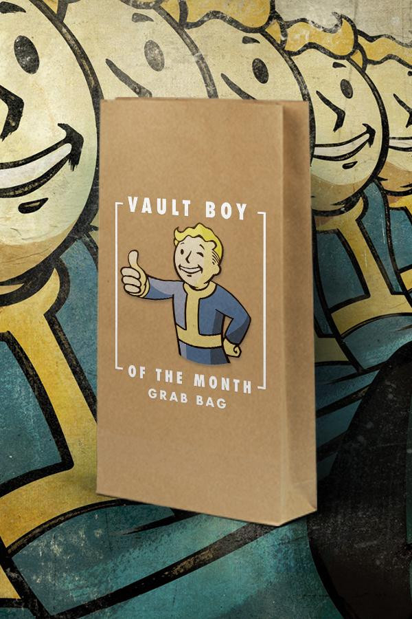 Brown paper bag with Vault Boy from Fallout's iconic thumbs up pose, wrapped around with text that says 'Vault Boy of the month grab bag'