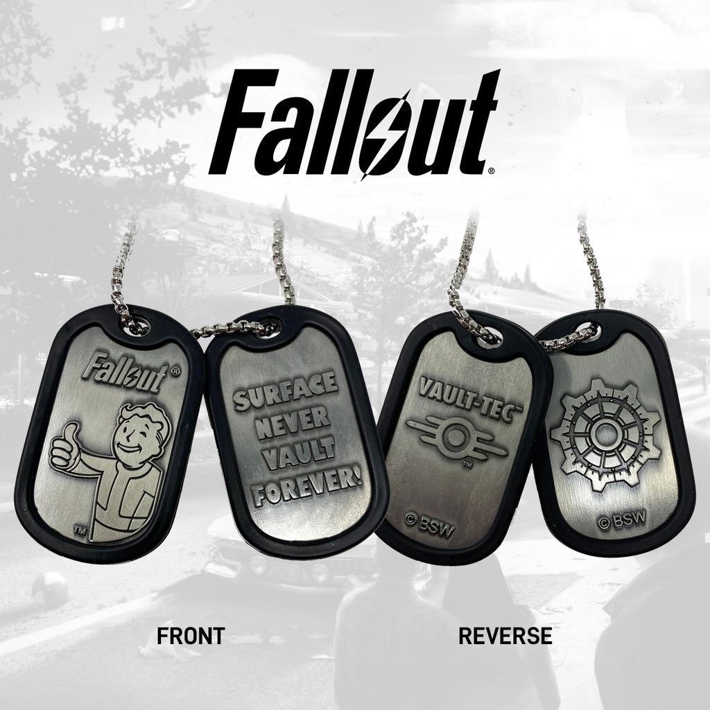 a set of 2 embossed Fallout themed metal dog tags featuring: Vault Boy giving his signature thumbs up and Surface Never Vault Forever text on one tag, the Vault-Tec text logo and symbol and vault gear door design on the other tag