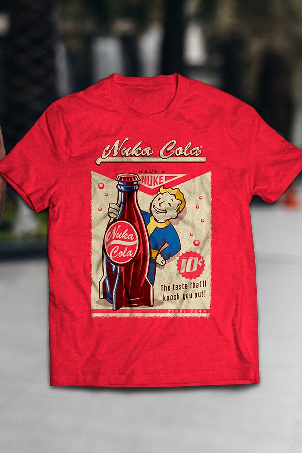 red t-shirt design featuring a vintage style Nuka-Cola from Fallout graphic t-shirt featuring Vault Boy holding a Nuka-Cola rocket bottle