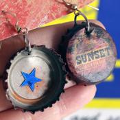 Fallout bottlecap earrings by DesertDrifterGoods