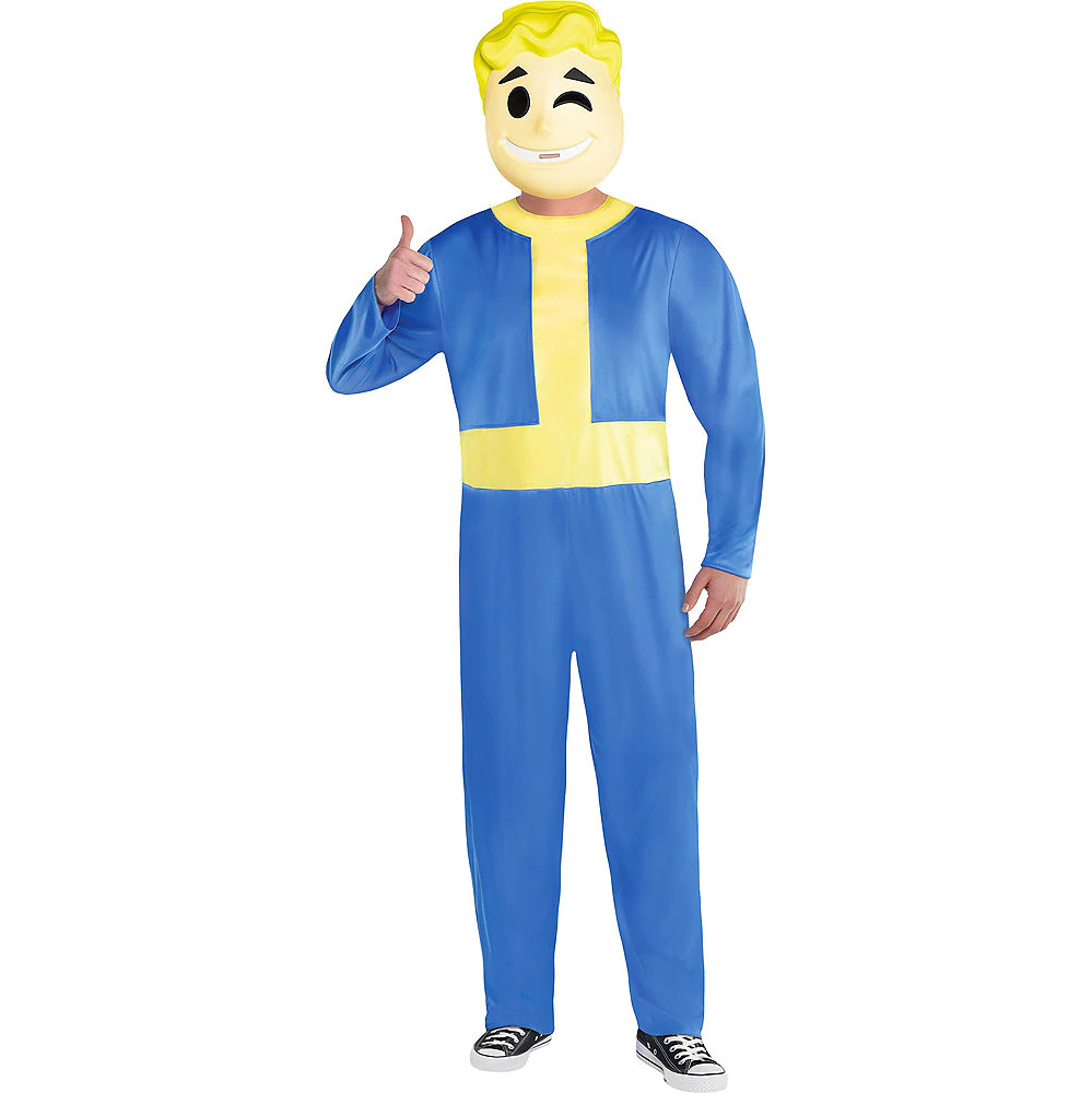an adult costume of vault boy with a winking mask and blue and yellow jumpsuit