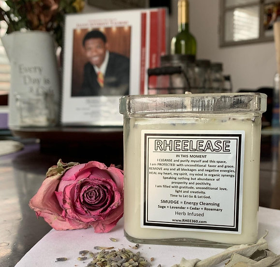 RheeLease Smudge Candle =                    Sage + Lavender + Cedar + Rosemary