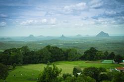 View to vulcanic Glasshouse mountains, Q