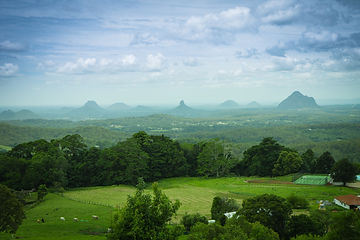 View to vulcanic Glasshouse mountains, Q