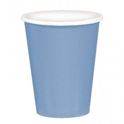 Pack de 8 Vasos de cartón azul pastel