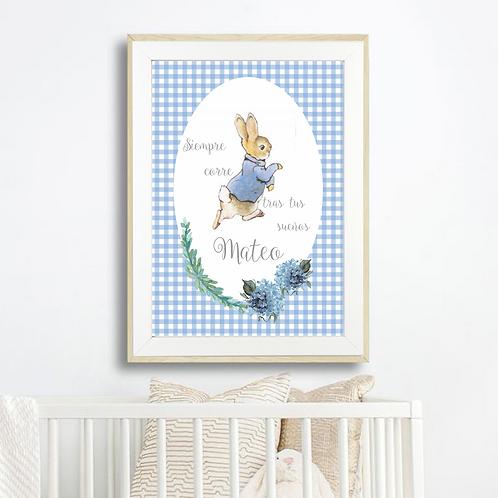 """Lámina personalizada imprimible """"Persigue tus sueños"""" Peter Rabbit"""