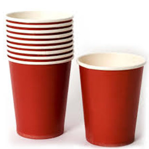 Pack de 8 Vasos de cartón rojo
