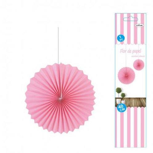 Flor abanico rosa 35 cms
