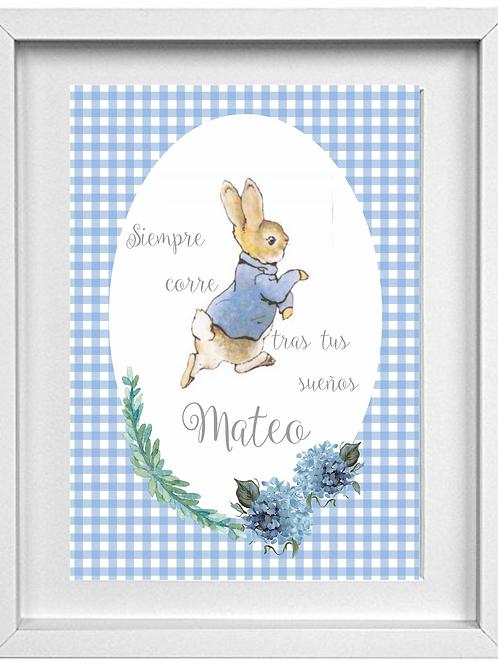 Lámina Peter Rabbit A4 enmarcada