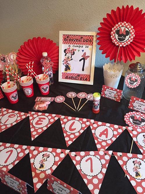 Kit de fiesta cumpleaños Minnie Mouse rojo
