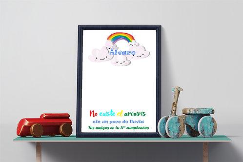 Lámina lluvia de huellas imprimible cumpleaños nubes colores