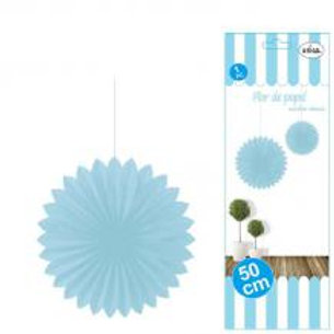 Flor abanico azul celeste 50 cms