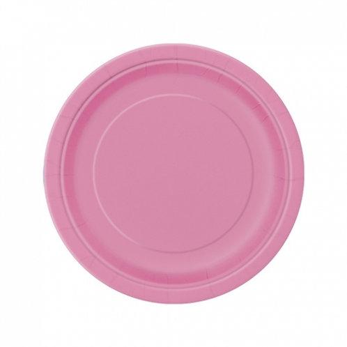 Pack 8 Platos cartón  rosa lisos