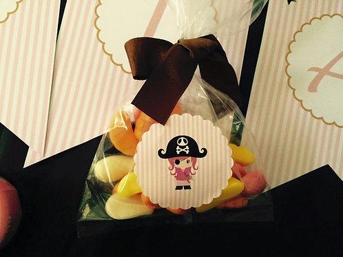 10 Bolsitas con pegatina para Candy Bar/ recuerdo
