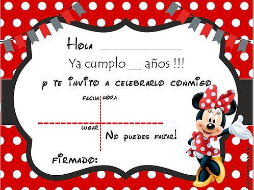 Invitación Minnie imprimible