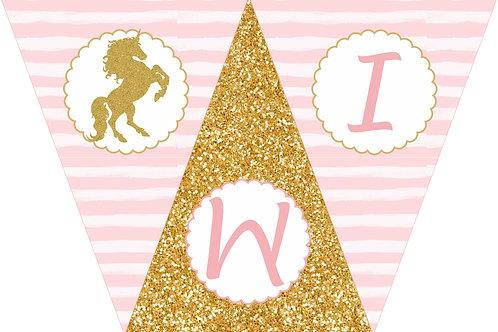 Kit de Fiesta Cumpleaños Unicornios dorados