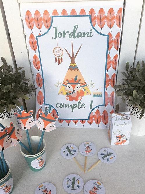 Kit de Fiesta Cumpleaños zorrito tribal