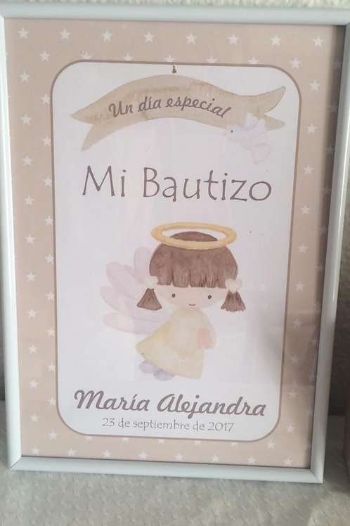 Láminas A4 enmarcadas de Mi Bautizo, Mi Comunión, Mi cumpleaños