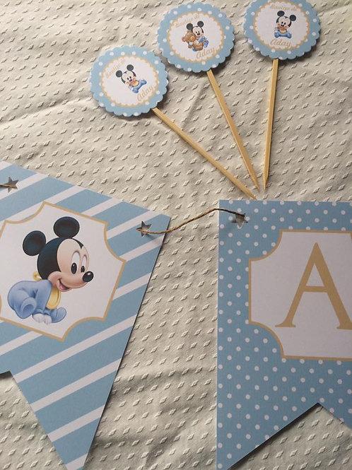 Kit de fiesta cumpleaños Mickey Bebé