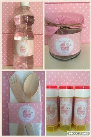 Kit de Comunión/ Bautizo Lina (rayas y topos rosas)