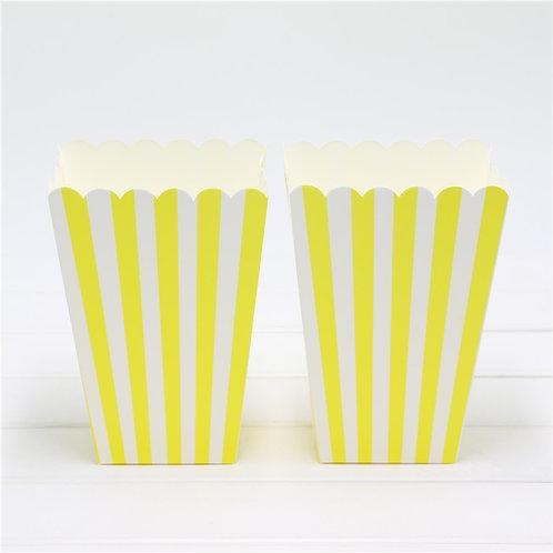6 Cajas Palomitas grandes rayas amarillas