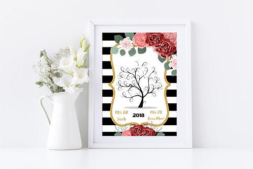 Árbol de Huellas imprimible cumpleaños Black and White