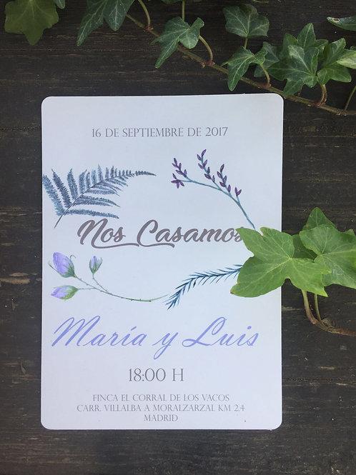 Invitación Boda Lila