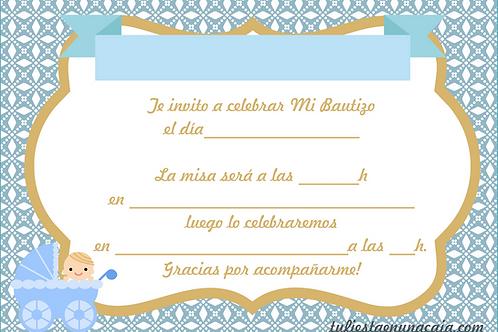 Invitación bautizo niño imprimible