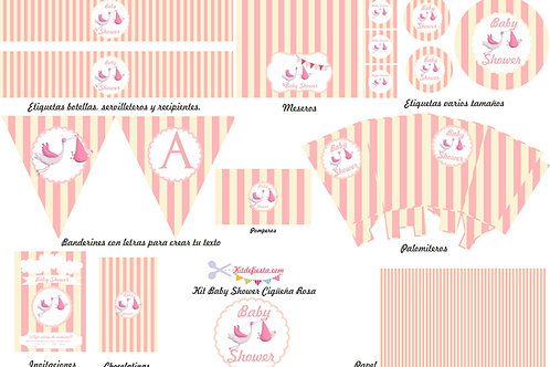 Kit imprimible Baby Shower Cigüeña rosa