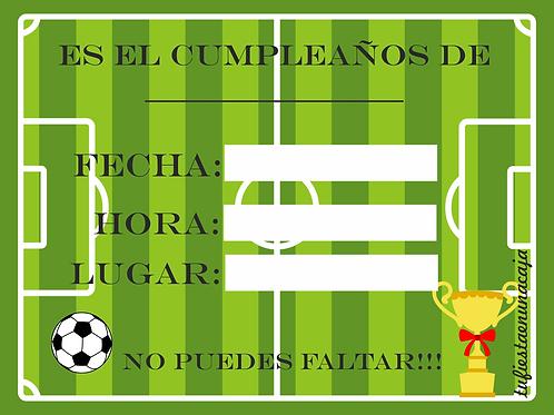 Invitación Futbol imprimible