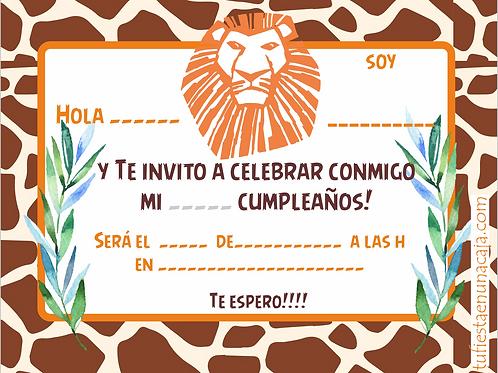 Invitación Rey León imprimible