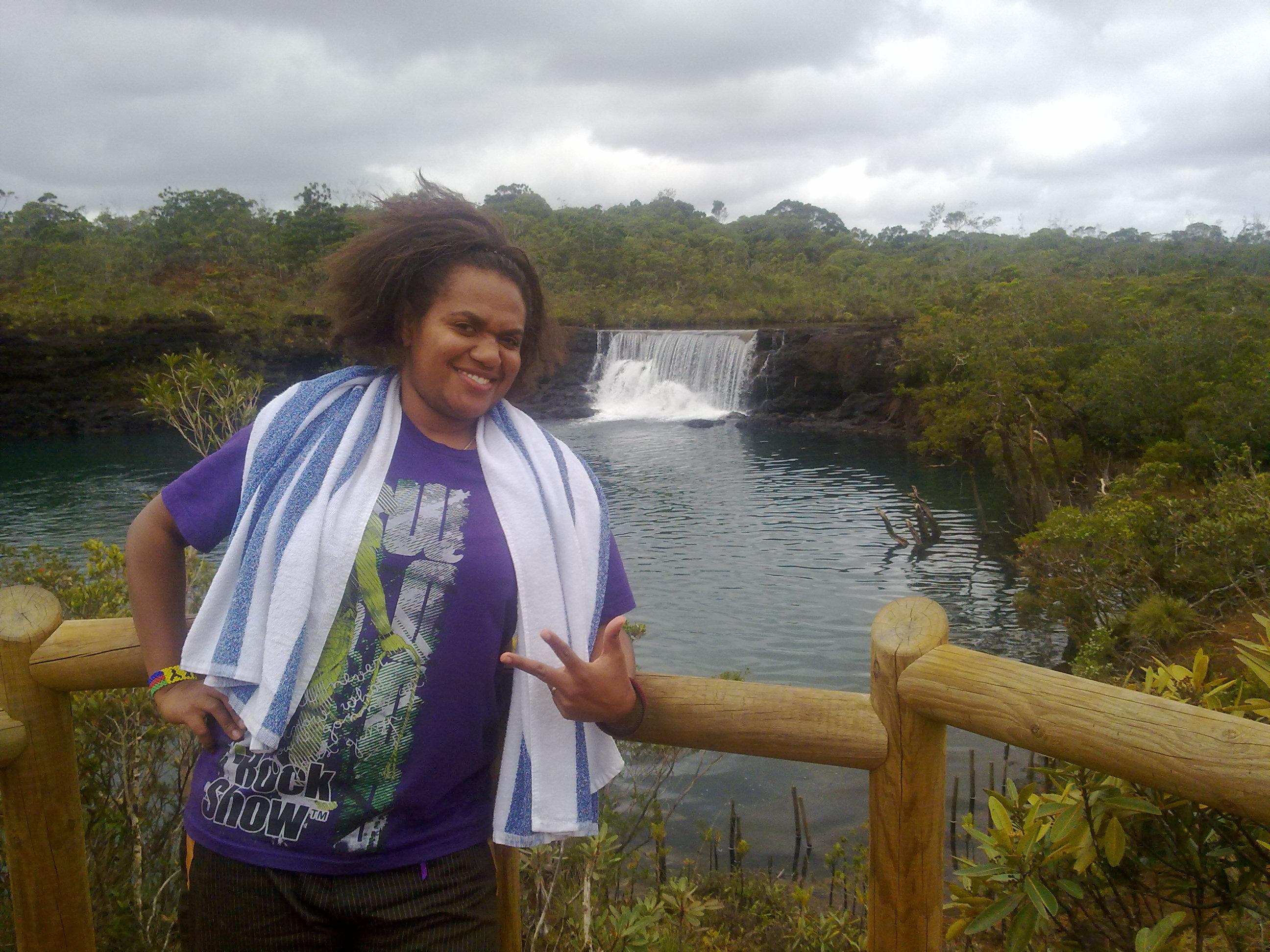 Linda at Madeleine Waterfalls