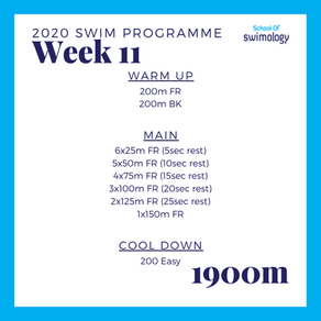 2020 Swim Programme Week 11