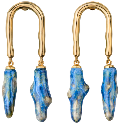 Horseshoe earrings with sea twigs