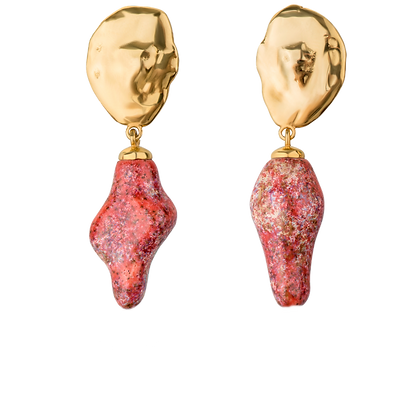 Lake earrings with small coral twigs