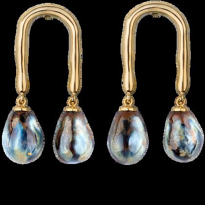 Horseshoe earrings with ocean drops