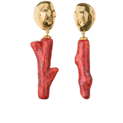 Lake earrings with coral twigs