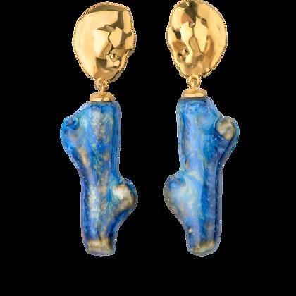 Lake earrings with sea twigs
