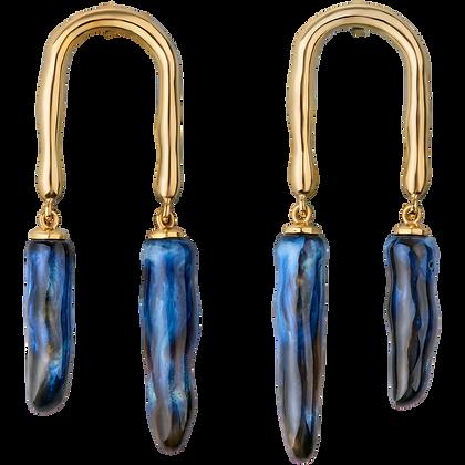 Horseshoe earrings with cosmos twigs
