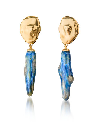 Lake earrings with small sea twigs