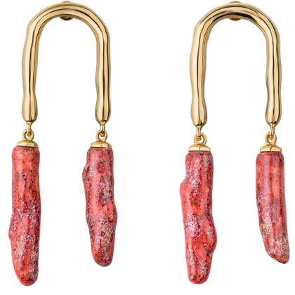 Horseshoe earrings with coral twigs