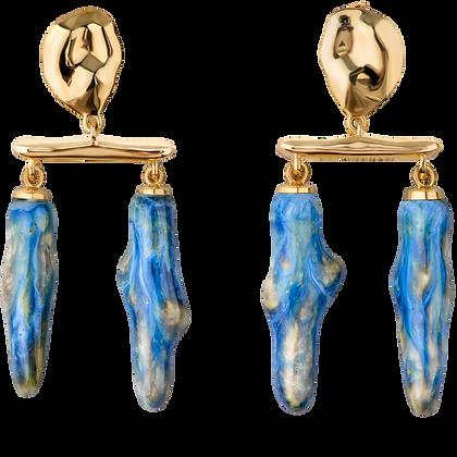 Lake earrings with double sea twigs