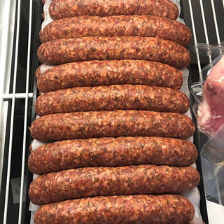 Fresh lamb sausages in the counter today