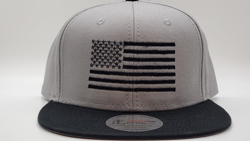 American Flag Black Stitch