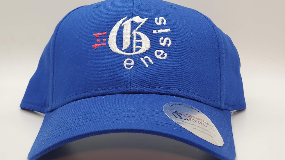 Genesis 1:1 Blue Sports Cap by Christian Fitted