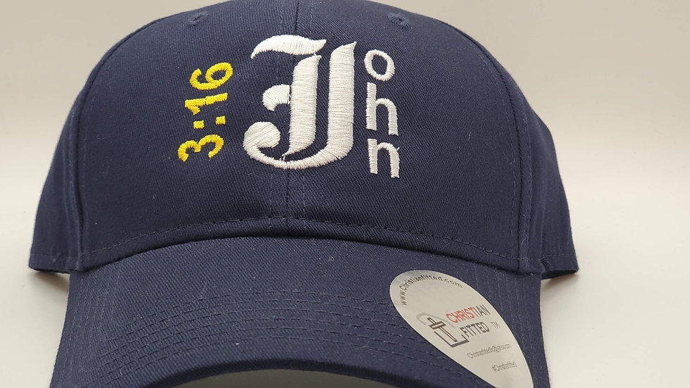 John 3:16 Navy Sports Cap by Christian Fitted
