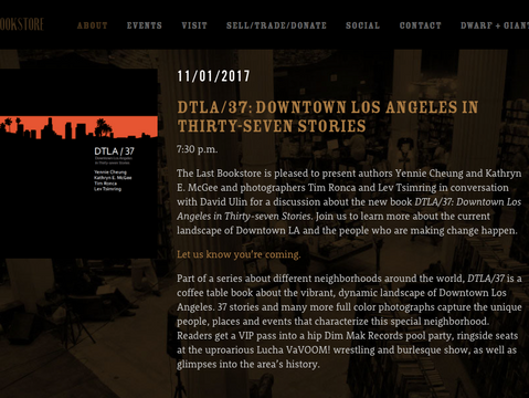 DTLA37 - book launch at The Last Bookstore - Nov. 1st!