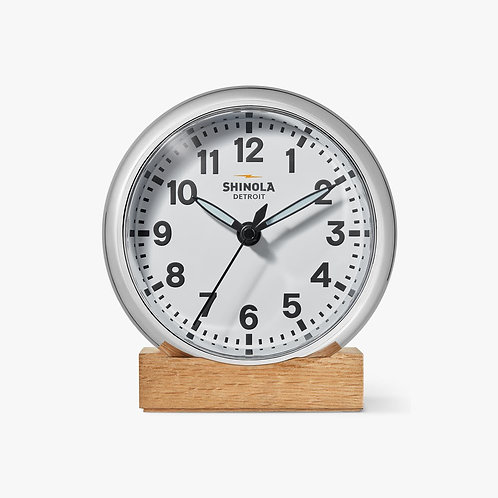 The Runwell Desk Clock Chrome-White