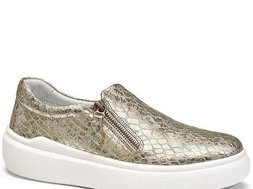 Luna Gold Metallic Croc-Embossed Italian Leather
