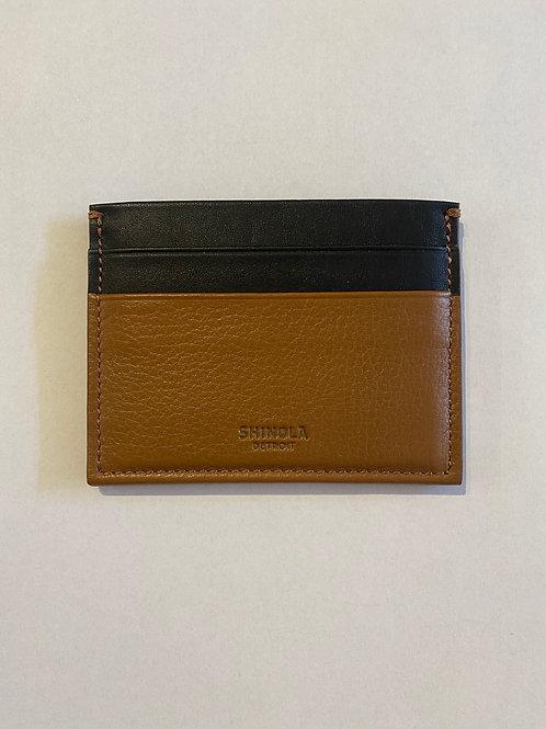RFID Five Pocket Card Case Black-Cognac